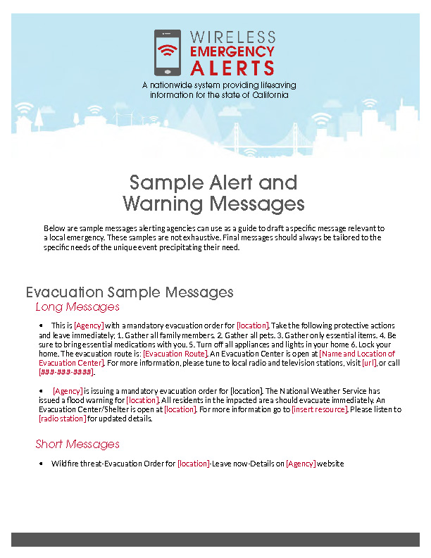 Image of the Sample AW Messages document, page 1