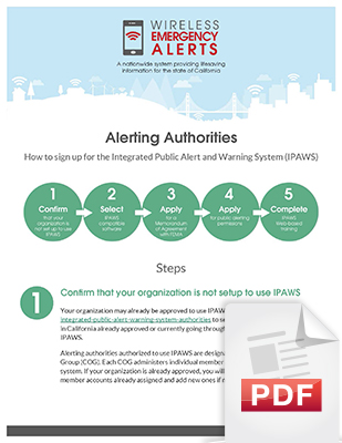 Image of the Alerting Authorities How to sign up for IPAWS document, page 1