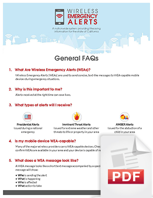 Image of the General WEA Frequently Asked Questions (FAQs) document, page 1